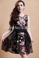 European style spring summer 2014 new Eugen plum blossom embroidery yarn short dress women-6002