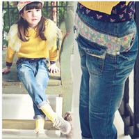 Princess Kids Jeans 2014 New Fashion Floral Cowboy Children Pants Girls Autumn Style Casual Pants Cotton Jean Children  Pants