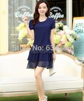 2014 women's dress maxi size chiffon short sleeved clothing false two  polka dot dress women-505