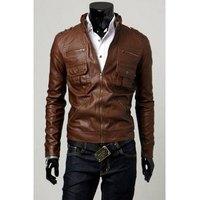 Fashion Slimming Pocket Zipper Design Stand Collar Long Sleeve PU Leather Jacket For Men