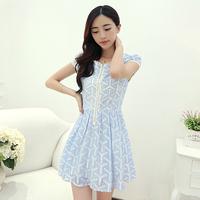 2014 new women's lace  chiffon women's summer short-sleeve dress lace decoration short dresses