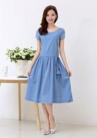 2014 new style girl dress in summer cotton long dress short sleeved Linen dress women 507