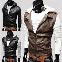 Man Short Slim Motorcycle Jacket Men Hooded Zip Jaquetas de couro Men's Coats Male Leather Jackets