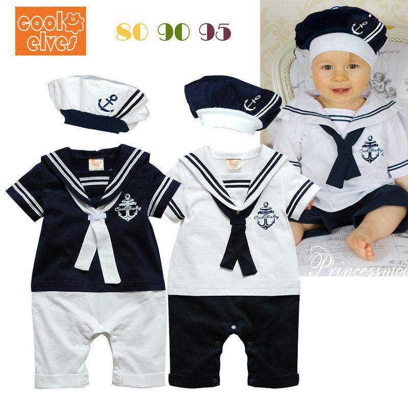2014 menina do menino do bebê Sailor Romper 2 Roupa terno Grow Outfit Verão Navy Marine Cor Branca Shorts camisa, gravata e chapéu 0-24M(China (Mainland))