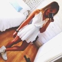 2014 Summer New  White Dress women V-neck Cute Flowy Dress Loose chiffon Dress kylie jenner