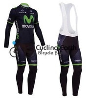 Free shipping! Movistar 2014 #1 Winter thermal fleeced clothes cycling jersey+bib pants bicycle  long sleeve wear set +gel pad