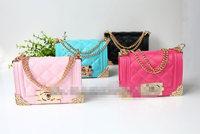 New Wholesale mini 4 candy color PU leather plaid designer bag children handbag little girl kids tote women handbag shoulder bag
