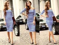 Fashion New Sexy Slash Neck Striped Bodycon Dress