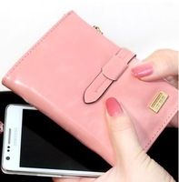 2014 new arrival fashion oily leather short design lady's belted wallet purse free shipping
