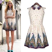 Small fresh one-piece dress 2014 spring and summer women's peter pan collar sweet print dress