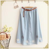 Free Shipping,Retail 2014 New Japaneses Mori Girl Summer Women Flower Appliques Embroidery Cotton Midiskirt,Female Casual Skirt