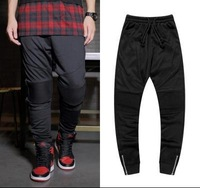 Mens Biker Jogger Pants Casual Bboy Dancer Sport Pants Hiphop Fold Design Knee Zipper Sweatpants for Men and Women