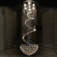 Free shipping modern luxury spiral design crystal chandelier lighting large stair lustre led lights Dia80*H260cm Guarantee 100%