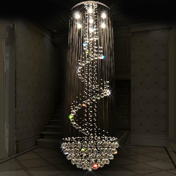 Frete grátis moderno cristal projeto espiral de luxo iluminação do candelabro grande escada brilho luzes led Dia80 * H260cm Garantia 100%(China (Mainland))