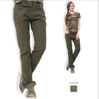 New 2014 Autumn and Winter Women Camouflage Military Pants Women's Outdoors Sport Pants European Style Girl Casual Free Shipping