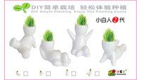 G13 Green plants ceramic pot/grass doll gift/cute mini hair grass plant in office for friend