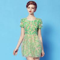 2014 spring new women's female slim organza print short-sleeve chiffon one-piece dress