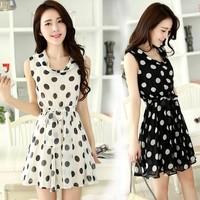 summer chiffon one-piece dress summer dress polka dot sleeveless tank dress slim lacing expansion dresses