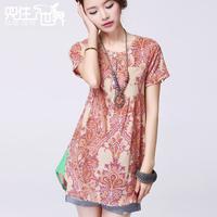 2014 summer women plus size t-shirt/female short-sleeve long design slim women's top cotton blouse/print shirt/free shipping
