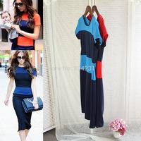 2014 Victoria beckham designer dress Style Stripe Open Back zip Women Pencil Office work Midi Dress Dresses bodycon dress