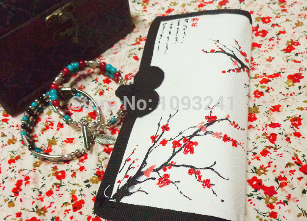 Chinese characteristic folk style, hand-painted plum pure cotton canvas wallet(China (Mainland))