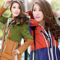 Jacket Woman Winter Coat 2014 New Mixed Colors Patchwork Female Big Size Thick Long Slim Duck Down Coat Wholesale S-XXXL