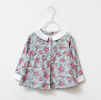 2014 New autumn,girls floral blouses,children cotton shirts,long sleeve,3 colors,6 pcs / lot, wholesale,1556