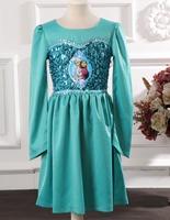NEW 2014 autumn models Frozen ELSA dresses stitching girls dress cosplay elsa princess export orders in stock