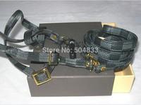 designer dog harness+leash set classic check pets leather chest strap pu lead dark gray