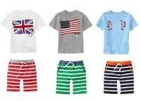 New Fashion Summer Children's sets brand fashion Baby Boy's suits sets GB USA flag short-sleeve T-shirts+stripe pants 10sets/lot