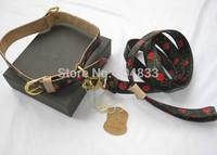 designer pu dog collar+leash set brand red cherry print dog leather lead leashes M L