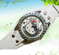 Free Shipping Fashion Hello Kitty Ladies Women's Girls Students Crystal Quartz Wrist Watch items leather strap watches