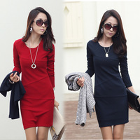 2014 spring new Korean cultivating long-sleeved big yards thick autumn and winter fashion knitting bag hip dress