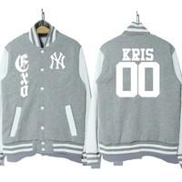 Free shipping 2014 spring and autumn EXO KRIS 00 Couple baseball uniform sweater LAY CHAN YEOL TAO  bts