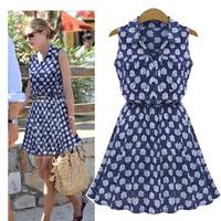 summer 2014 new casua fashion Blue print Pinched waist shirt collar Sleeveless shirt Dress  for women  S--XL