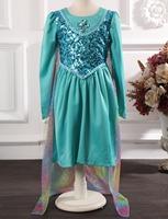 NEW 2014 autumn models Frozen ELSA dresses stitching girls dress cosplay ELSA color Voile cloak princess export orders in stock