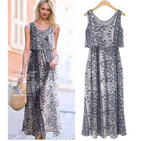 summer 2014 new casua Retro bohemian print  elastic waist vest beach long dress for women S--XL