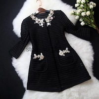 flowers aristocratic luxury station early autumn 2014 women's round neck heavy beaded jacket small fresh temperament hollow