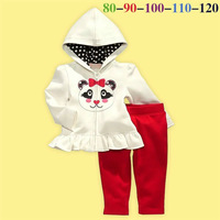 5set/lot wholesale gril kid long sleeve panda jacket pant 2pcs set clothes ,casual children clothes hoodies trouses