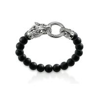2014 new men 925 silver black agate bracelet vintage accessories dragon black beads bracelet men jewelry free shipping HT-302
