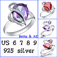 Free shipping 925 silver ring Austrian Water droplets crystal ring 2014 new fashion jewelry women wedding rings