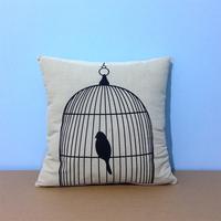 "18*18 "" Home Decorative Black & White Bird Cage Print Fine Microfiber Cushion Cover Pillow Case"