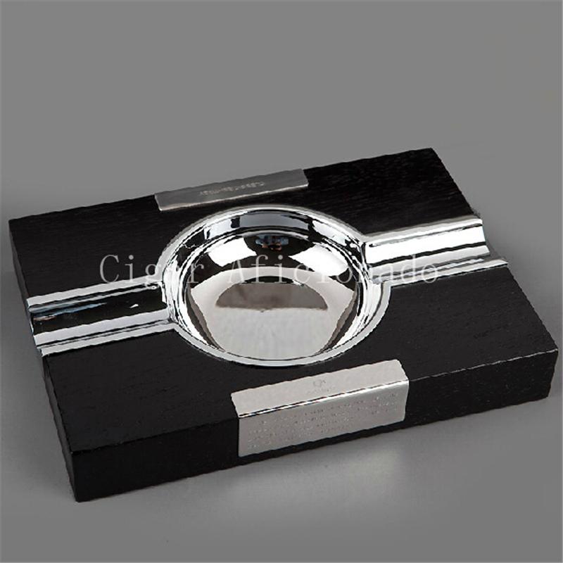 COHIBA Delicate Gadgets Rectangle Black Wood Pedestal Stainless Steel Cuban Cigar Ashtray Holder(China (Mainland))