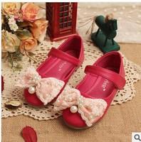 2014 New! Children Girls Shoes Korean Girls Microfiber PU Leather Shoes Baby Girls Flower Princess  kids Shoes D03-62