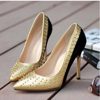 sexy pointed rivets color matching new single female shoe waterproof nightclub princess shoes for women's shoes 35 40 S627