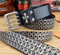 2014 Men Punk Belt hollow out fashion Metal Rivet Brand Belt Three pin buckle Pure Leather Punk Belt Free Shipping