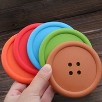 E7082 Queer wholesale fashion candy -colored silicone non-slip buttons coasters sided round heat pad mat