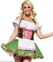 2014 New Cute Maid Costume Sexy Germany Beer Girl French Maid Cosplay Fancy Dress Halloween Bar Stage Performance Uniform Green