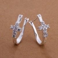 925 silver earring-ASE173-New 2014 fashion Hoop earring 925 silver jewelry wholesale 925 silver earring for women free ship