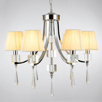 Modern K9 Crystal Chandelier Luxury Fashion Beige Fabric Lampshade 6 Bulbs 110-240v 2014 New